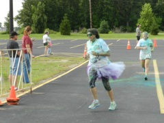 "Me at the ""Run or Dye"" 5K (like the tutu?)"