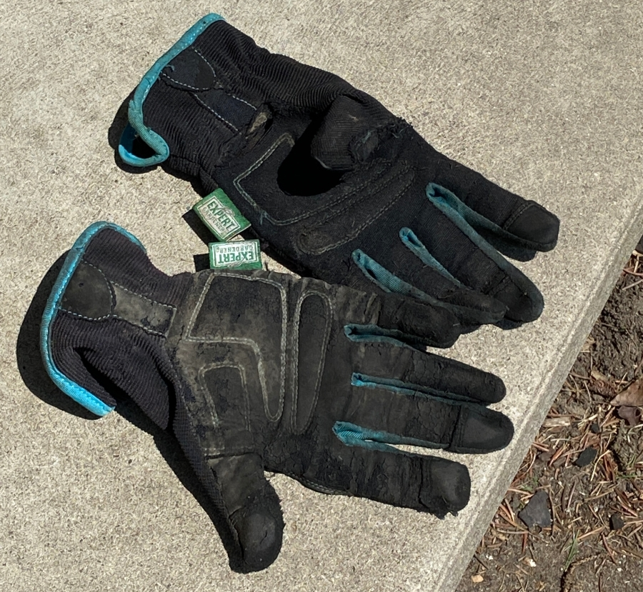 worn garden gloves